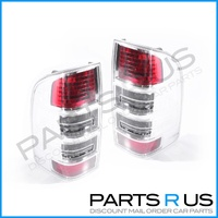 Ford Ranger PK Ute Style Side 09-11 Clear & Red LH+RH Pair Of Tail Light Lamps