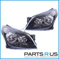 Holden AH Astra Black Headlights Pair LH + RH 04 05 06 Wagon Hatch & Convertible
