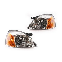 Kia Rio 02-03 DC Ser1 Sedan & Hatch Clear & Amber LH+RH Set Headlight Lamps Depo