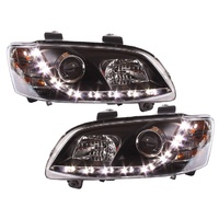 Holden VE Head Lights Commodore Series 2 & HSV LED DRL BLACK Projector SSV SV