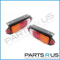 Universal Replacement Tray Back Ute Red Amber & Clear LH+RH Set Tail Light Lamps