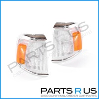 Toyota Hilux 88-91 2WD Ute Chrome Clear Amber LH+RH Set Corner Indicator Lights