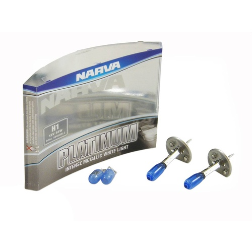 Narva Platinum Blue H1 Headlight Bulbs+5W Wedge Parkers