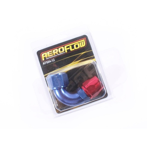 Blue Aeroflow 550 Series -12AN 120degree Cutter Style Full Flow Braided Hose End