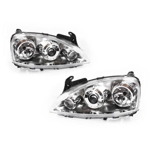 Holden Barina XC 01-05 SRI Hatch Clear PROJECTOR LH+RH Set Headlight Lamps