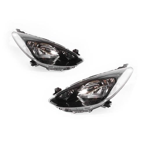 Mazda 2 DE-3 11-13 5Door Hatchback Clear & Black LH+RH Set Headlight Lamps TYC