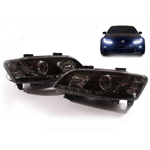 VE Commodore Projector LED Black Head Lights Set Omega SS SSV HSV DRL Pair