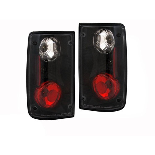 Toyota Hilux 88 - 97 Black Altezza Clear Tail Lights *With Amber Bulbs* Ute