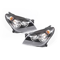 Holden Astra AH 04-06 3&5Door Hatch Wagon & Conv Black LH+RH Set Headlight Lamps