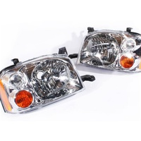 Pair Headlights to suit Nissan Navara D22 01-14 LH+RH Ute/DUAL/SINGLE CAB 4WD/2WD