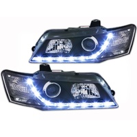 BLACK Headlights Holden VZ Commodore/Calais & HSV LED DRL