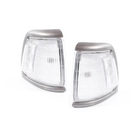 Corner Indicator Lights suits Toyota Hilux 91-97 2WD Ute Grey/Silver & Clear LH+RH Set