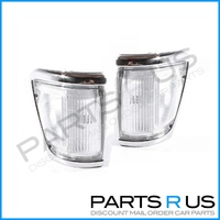 Corner Lights 91-97 Toyota Hilux 4WD Ute Chrome Edge Clear Set LH+RH Pair