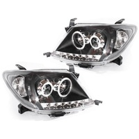 Pair Headlights To Suit Toyota Hilux LED Black Projector Angel Eye DRL Clear Halo 05-11