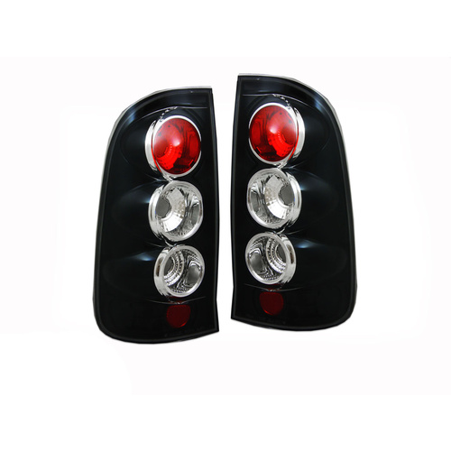 Altezza Tail Lights 05-11 Toyota Hilux Black Tail Lights Ute SR SR5 KUN26 06 07